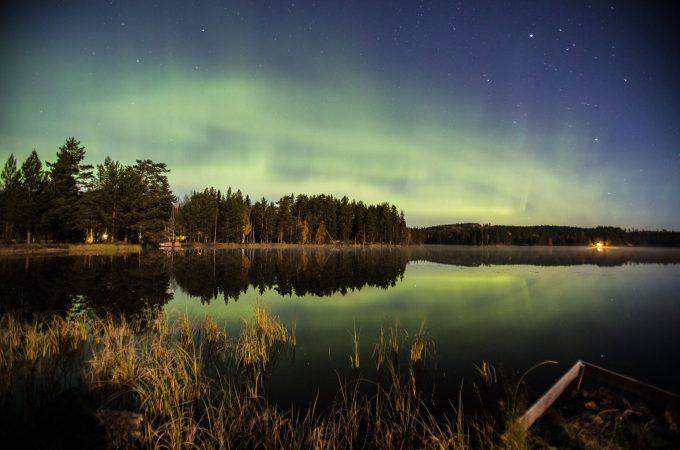Northern lights over a lake in central Sweden taken by Craig Allen