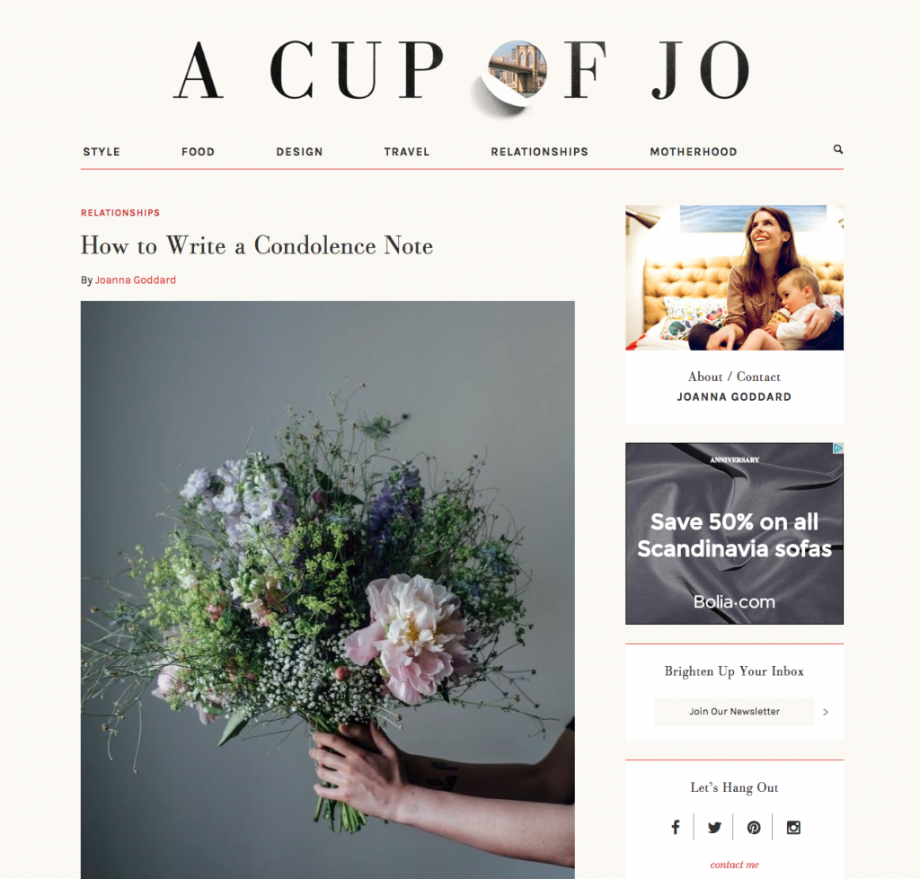 Cup of Jo blog screenshot