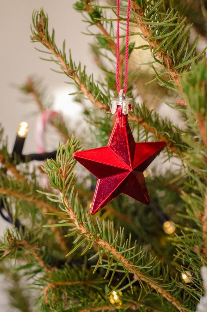 Red star ornament on our Christmas tree