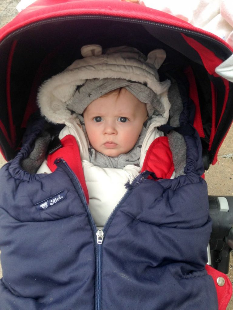Cozied up in the stroller for the Swedish winter