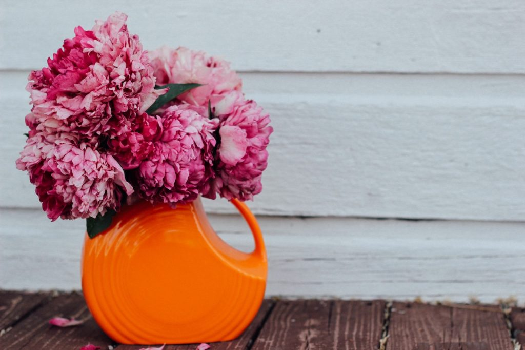 Pink flowers in orange Fiesta vase