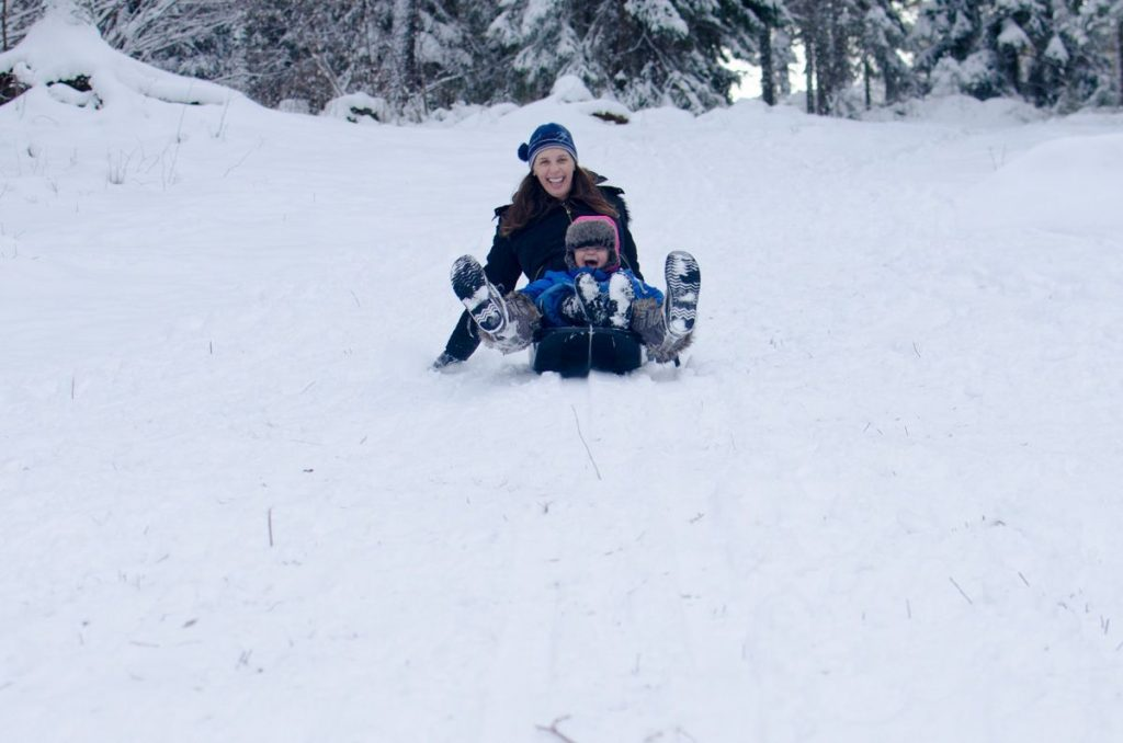 Jodi and Leif sledding