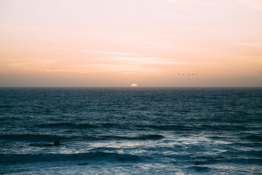Sun rising over ocean