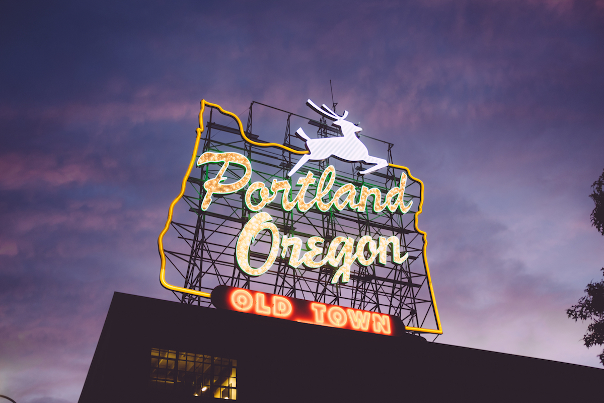 Neon sign for Portland, Oregon