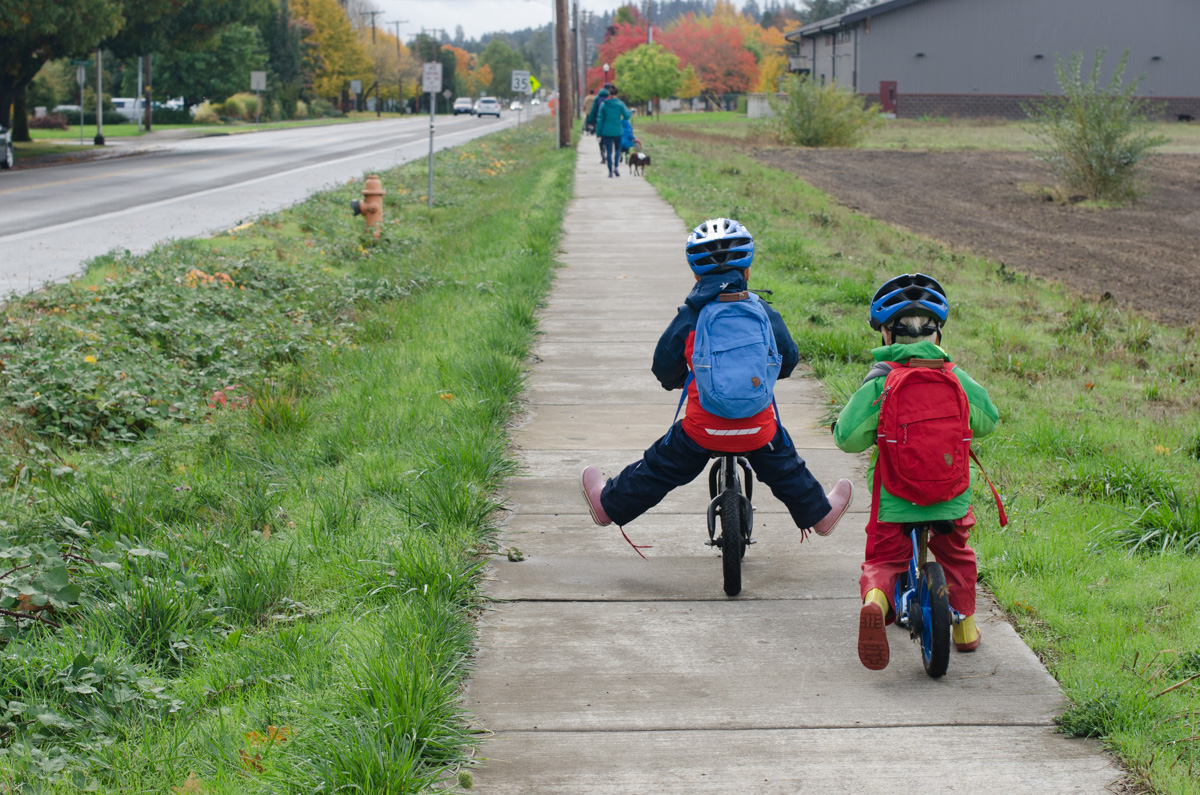 Boys riding bikes in Oregon