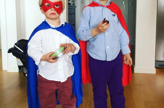 Boys dressed as superheroes, kinda