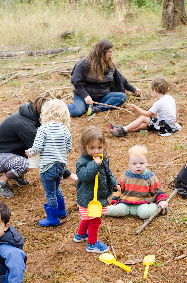 Kids at Free Forest School basecamp