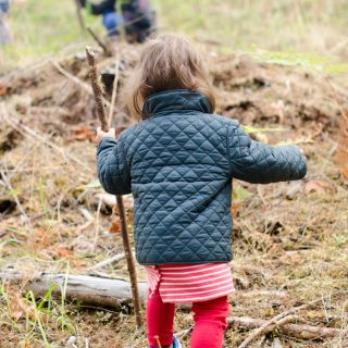 Toddler walking in forest with stick