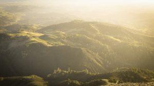 mountainside at dusk