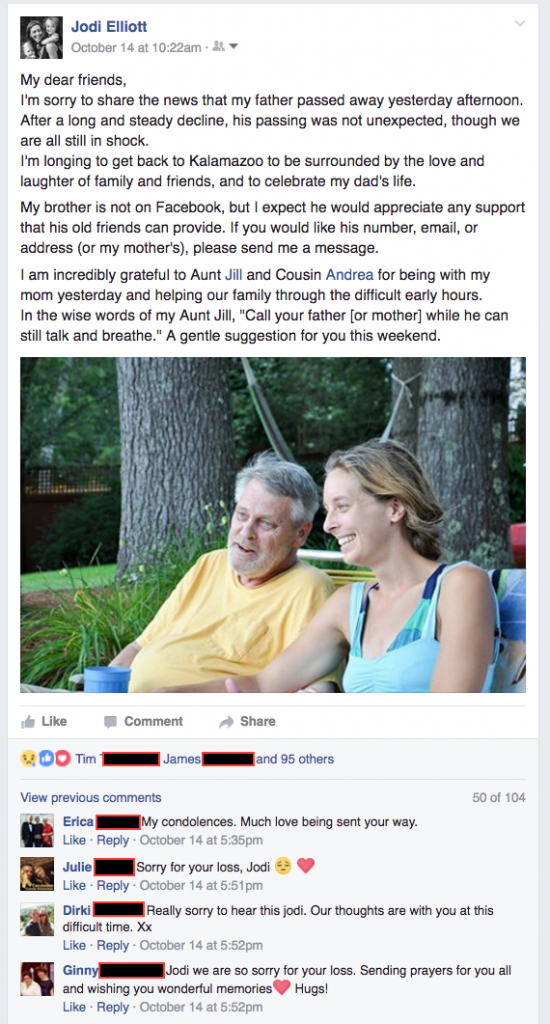 Facebook post condolences