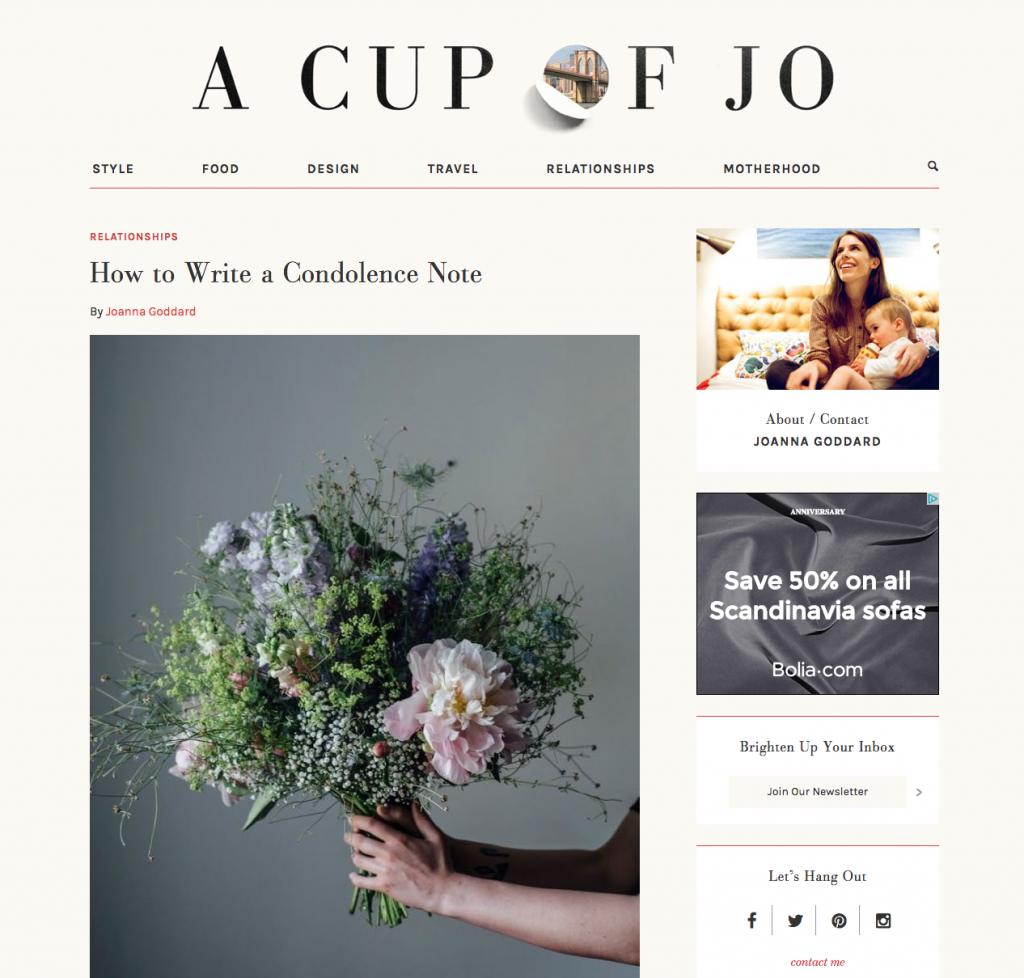Cup of Jo blog screenshot