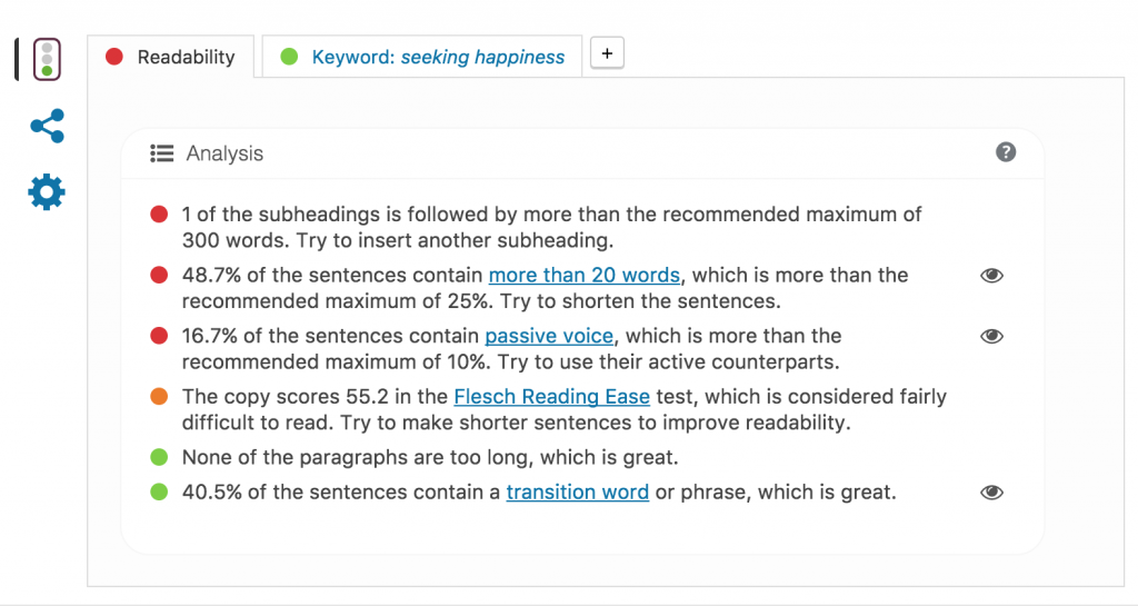 Readability comments for individual post