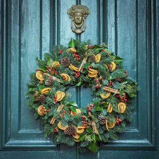 Christmas wreath on blue door
