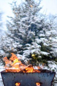 Outdoor fire in Swedish winter