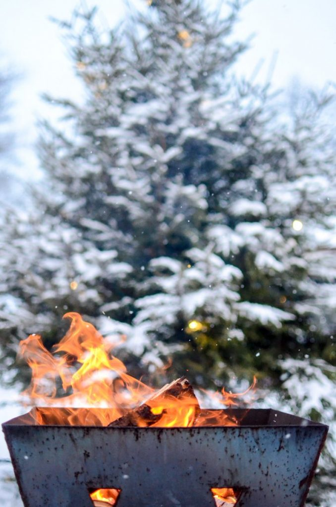 Outdoor fire in Swedish winter