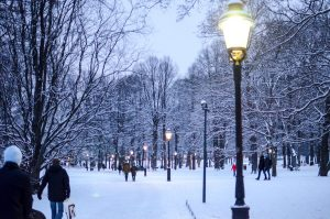Humlegarden, a city park, in winter