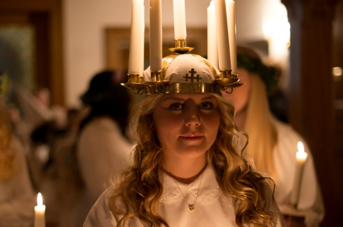 Swedish Lucia with candles