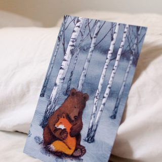 Fox and bear storytelling card