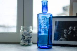 Gorgeous blue glass bottle from Spain
