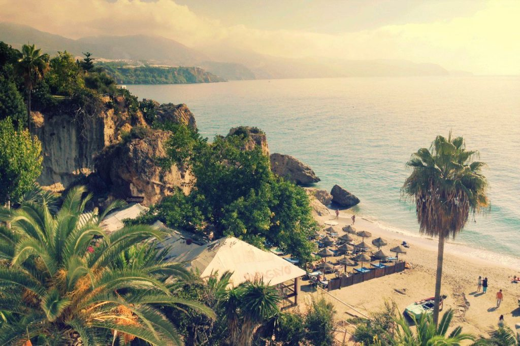 Beach and sea view of Nerja, Spain