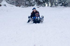Jodi and Leif sledding