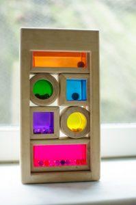 Translucent blocks in windowsill