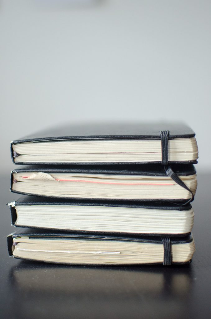 Stack of black Moleskine journals
