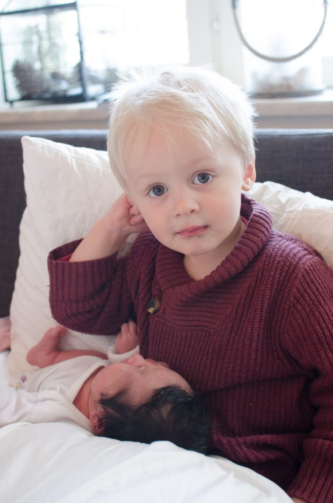 Big brother and newborn