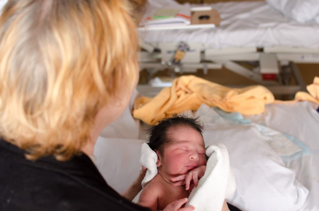 Newborn and Swedish grandmother