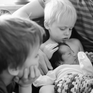 First day at home with newborn and big brothers