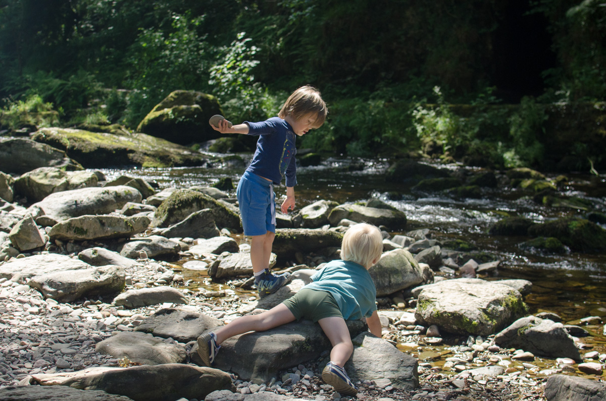 Boys in the river at Watersmeet