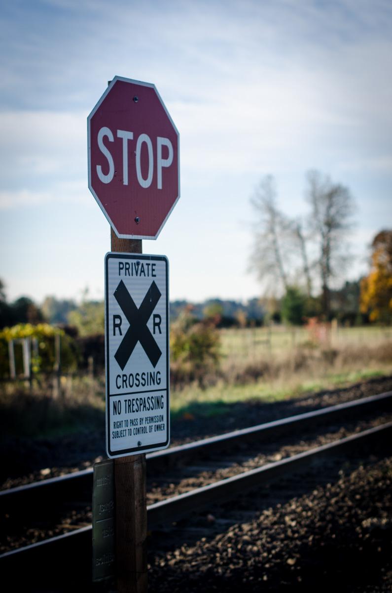 Railroad crossing at Denison Farms