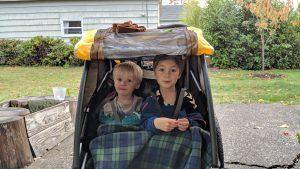 Boys in bike buggy