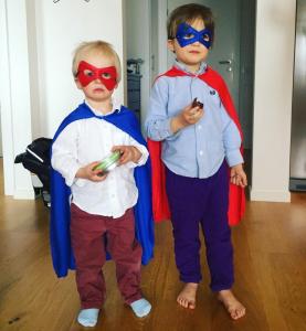 Boys dressed as superheroes, kinda