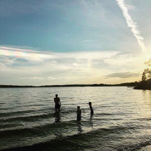 Sunset swim in the Baltic