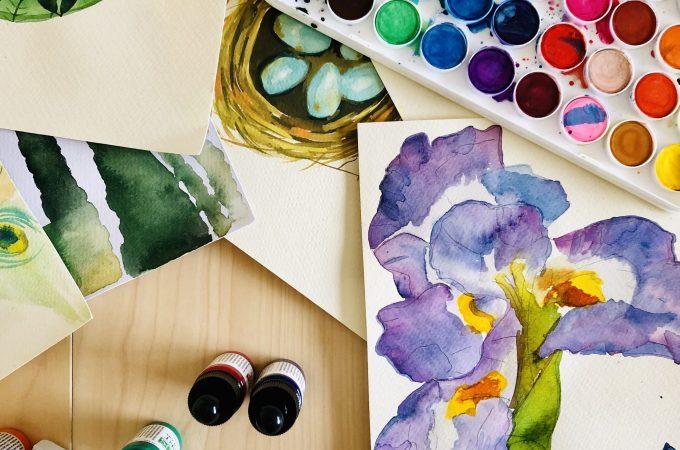 Watercolor flatlay