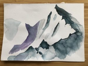 Watercolor mountain scene