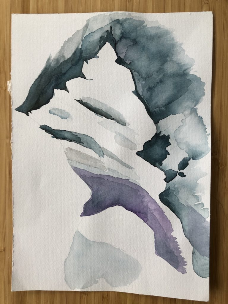 Watercolor mountain scene sideways